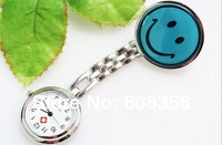 Wholesale 10 pcs/lot smiling face nurses watches Professional medical wristwatch Mixed color  Free shipping