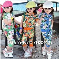 Sale Aones Girls rimmed flower print sport girl clothing sets short-sleeve zipper outerwear+haren pants 2pcs summer suits baby