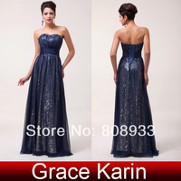 Free Shipping Elegant Stock Strapless Sequins Evening Dress Formal prom party Gown Long Chiffon Dresses CL6005
