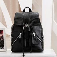 2014 Fashion Vintage Preppy Style Black Color Genuine Leather Backpack For Women Brand Travel Backpack Laptop 13 Inch Backpacks
