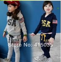 2014 spring autumn cartoon cartoon suit/striped pants +cartoon T-shirt suit / 100% cotton two-piece black white 5PCS/1LOT