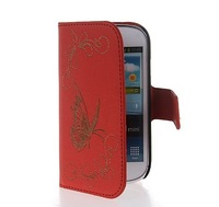 Butterfly Flip Wallet Card Pouch Stand Leather Case Cover For Samsung Galaxy S3 Mini I8190