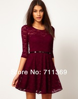Faction Lace Slim  A-Line Three Quarter Sleeve Dress Total 4 Colors Free Shipping