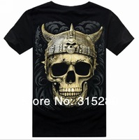 Women and men's fashion 3D Hip-hop rock plus size fluorescent skull short sleeve T-Shirts black
