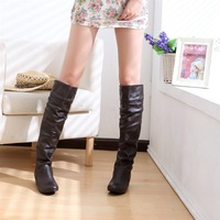 New 2013 Women Knee High Boots Genuine Leather Shoes Women Motorcycle Boots Casual Ladies Shoes Snow Winter Boots Big Size 42 43