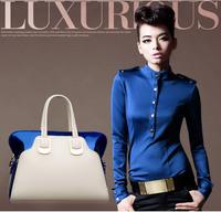 hot sale! new arrival,paint leather fashion women's handbag,europ casual messenger  glossy candy hit-color handbag!