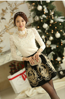 000030 - New 2014 Spring Elegant Women Long-sleeve Lace Shirt Girl Stand Collar Hollow Lace Shirt Black White Free Shipping