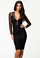 Free shipping Sexy Women Black Lacy Flirt Evening Prom Midi Dress LC6251
