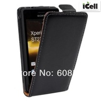 High Quality Genuine Flip Leather Case Cover for Sony Ericsson Xperia Go ST27i ,MOQ:1PCS free shipping