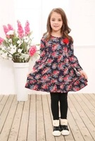 Free Shipping,1pcs/lot,new girl's long sleeves dresses,children mon*brand print draped design girl's dress,2-8year,multi color