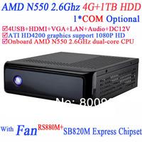 Mini PC Windows Computer with HDMI ATI HD4200 integrated graphics RS880M SB820M Express AMD N550 2.6GHz dual-core 4G RAM 1TB HDD