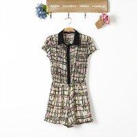 2014 New Women Plaids Prints Leisure Short Jumpsuits with Belts Lady Fashion Pants Trousers, TW1092-E02