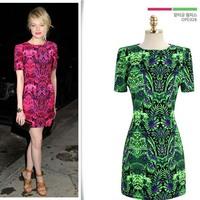 Free Shipping, 2014 New Arrival, Fashion women's evening dress slim a-line print chiffon short-sleeve dress
