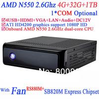 Mini HTPC with HDMI ATI HD4200 integrated graphics RS880M SB820M Express AMD N550 2.6GHz dual-core CPU 4G RAM 32G SSD 1TB HDD