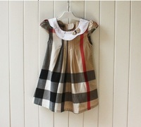 Free shipping A-line ribbon bow Baby girl dresses England plaid sleeveless summer  dress baby girls dress little princess