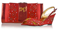 Free shipping!new African shoe and matching bag,high quality Italian shoe,nigerian wedding shoe and bag,red,SB8796