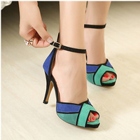 2014 Summer New High-Heeled Shoes, Fish Head With Fine Suede High-Heeled Sandals  *290