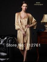 Quality Fiber Queen Mulbbery Silk Pyjamas and Slumber Wear for Women, soft comfortable fashion silk night robe, DHL freeshipping