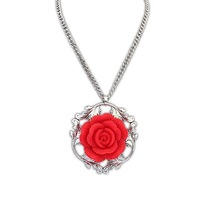 New Arrival 1 Piece Fashion Europe and America Palace Vintage Resin Rose Pendant Necklaces, Item: NK102451