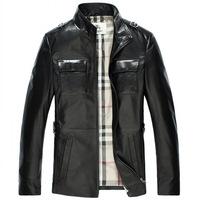 New arrival high quality imported high quality sheepskin genuine leather men fashion long leather jacket overcoat