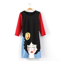 2014 New Women Fashion Cartoon Beauty Prints Casual Dress DR1133-A02