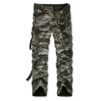 2014 Spring New Casual Men Pants Loose Multi Pockets Camouflage Men's Army Overall