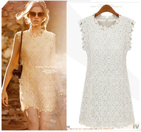 2014 European summer fashion woman lace mesh dress brand floral embroidery sexy white club party