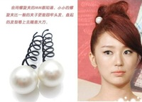 Perfect 12 Pairs/lot DIY Retail Pearl Spiral Clip Metallic Hair Styling Hairpin Hair Accessory