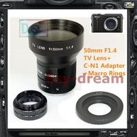 Large 50mm F1.4 CCTV TV Lens + C Mount Adapter for Nikon Nikon1 J1 J2 J3 S1 V1 V2 AW1 Camera PA227