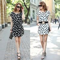 8511# 2014 summer short-sleeve chiffon dress loose polka dot  with belt  Free shipping