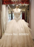 Free Shipping 2014 Latest  Spaghetti Strap Crystal Beaded Real Sample  Ball Gown  Bridal Wedding Dress