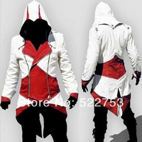 Free shipping New Arrival Custom made Japanese anime Fashion Assassins Creed 3 Cosplay Hoodies Plus Size Jacket Cosplay Costume