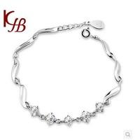 Free Shipping  925 silver  sterling fashion jewelry Round Rhinestone Bracelets Bangles for women