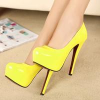 2014 Fashion Princess Red Bottom High Heels Shoes Woman Sexy Platform Thin Heels Neon Color Female Sapatos Women's Pumps