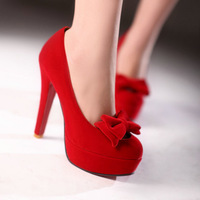 2014 New Fashion Bow Womens Platform Pump High Heels Ladies Wedding Shoes