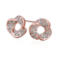 New Fashion 18K Rose Plated Women's Stud Earrings Clear Austrian Crystal Flower E291