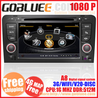 Car DVD for Audi A3 S3 (2002-2011) with GPS radio USB 1G CPU 3G Host S100 Support DVR HD screen audio video player