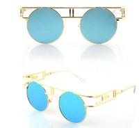 Men Gothic Retro Sunglasses New In 2014 Personalized Men's Reflective Punk Sun Glasses For Women Steampunk Eyewear Coating