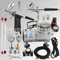OPHIR 110V,220V 2-Airbrush & Compressor Kit Double Action Spray Gun Air Brush Set Tattoo Nail Art Makeup Sets_AC089+AC004+AC069
