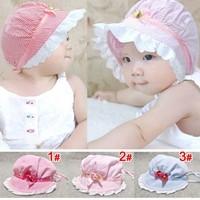 100% cotton Baby cap princess sunbonnet stripe small flower hat