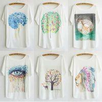 2014 Causal Cartoon Animal Tee Cotton Short Sleeved Plus Size T shirt Women Loose Shirts Free Shipping