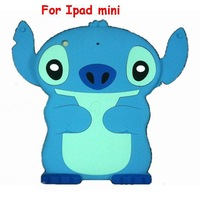 New arrival Hot Lovely Cartoon Lilo & Stitch Silicon soft skin Case 3D Cute Stitch Rubber Cover For Ipad mini Free shipping 1pcs