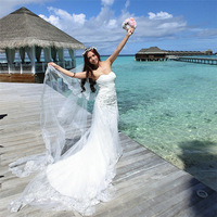 Affordable 2014 Spring New Sweetheart Beaded Lace Elegant Bride Dress Mermaid Wedding Dresses Stock Free Shipping
