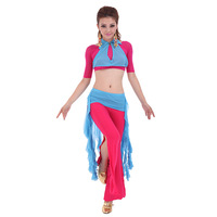 2014 Real Women Bellydance for Square Dance Clothes Trousers Set Yarn Top S47 Practice Skirt Q65 Placketing Training Pants K97