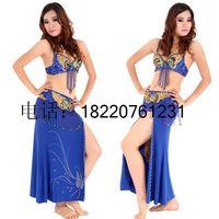 2014 Real Hot Sale Freeshipping Bellydance Belly Dance Set Exquisite Costume Bra Cummerbund Rhinestones Step Skirt T5814 Q19