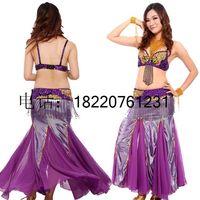 2014 Limited Promotion Bellydance Indian Dance Belly Set Exquisite Costume Bra Cummerbund T5814 Long Design Fish Tail Skirt Q04