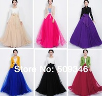 2015 Fashion Women Ladies Elegant Prom Party Maxi Long Skirts Gauze Expansion Hem High Waist Solid Black Red Beige Purple