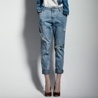 Uper Feet-on sale New denim jeans Europe street  ladies Jeans ripped harem pants denim causal  pants women's fashion trousers
