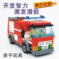 building blocks assembled plastic puzzle Fire Station Series 8054 fire sprinkler car wholesale entity