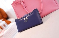 New 2014 Free Shipping Fashion Korean Bowknot style women wallets can provide 18 cards and card holder.
